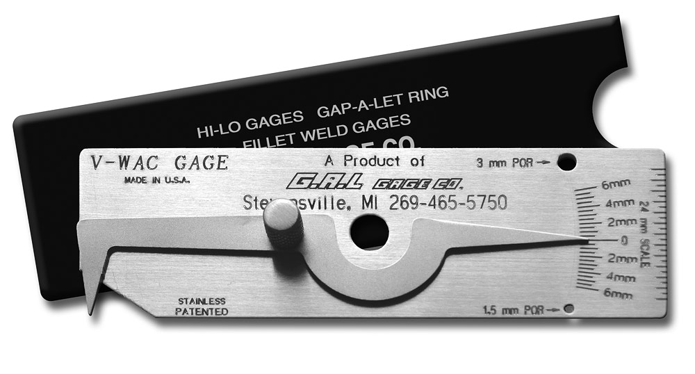 'V-WAC' Single Weld Gauge - Check Undercut, Crown Height, Porosity, Pits, All Stainless Steel