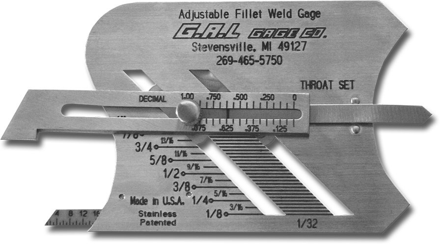 Adjustable Fillet Weld Gauge - Unequal Leg Measurement Feature, Measure Fillet Weld & Weld Throat Thickness